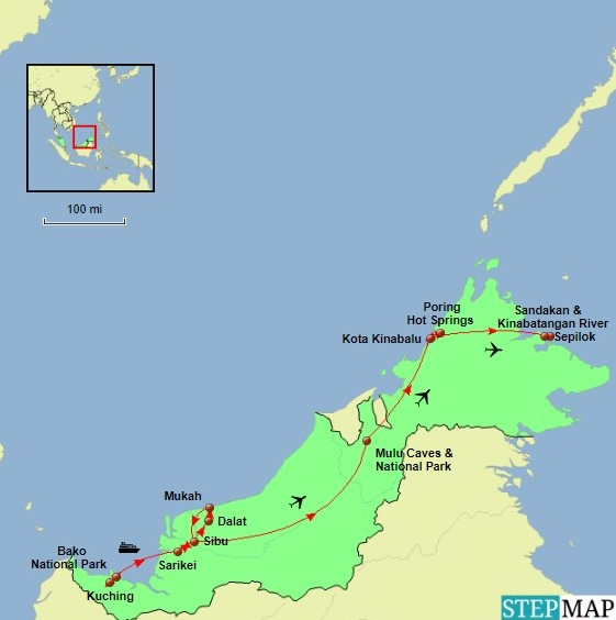 Borneo Tour Map