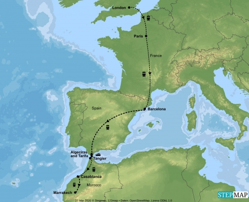 London to Morocco -Rail-Adventure - Map