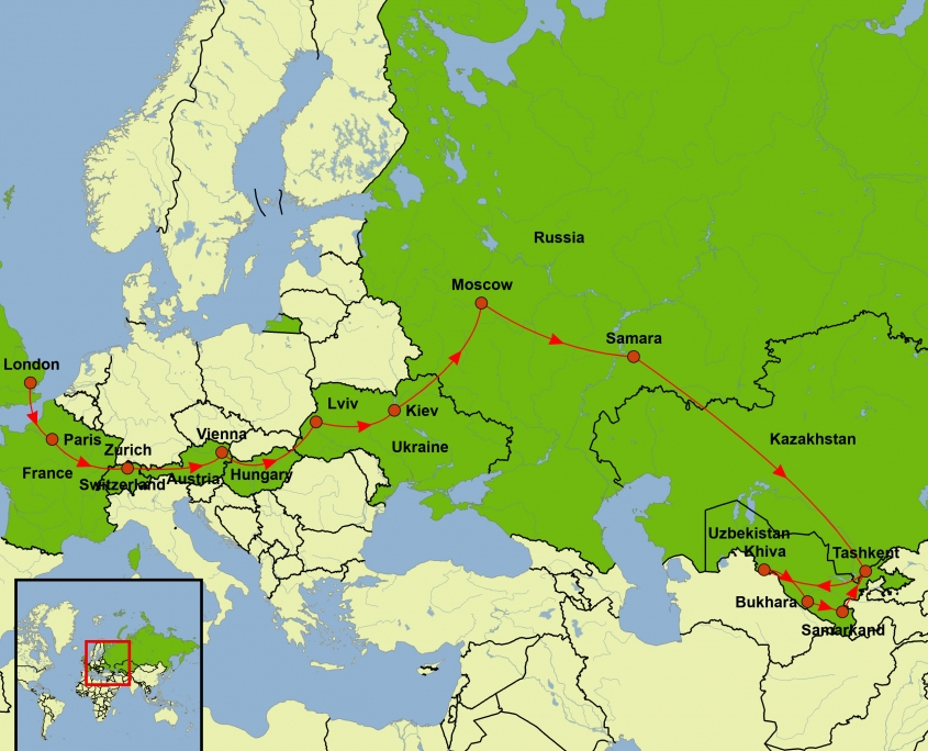 London to Uzbekistan Tour Map via Vienna