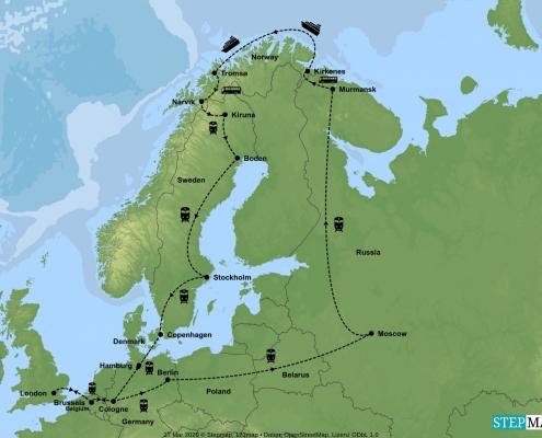 Arctic Explorer No Flying Rail Adventure Tour Map