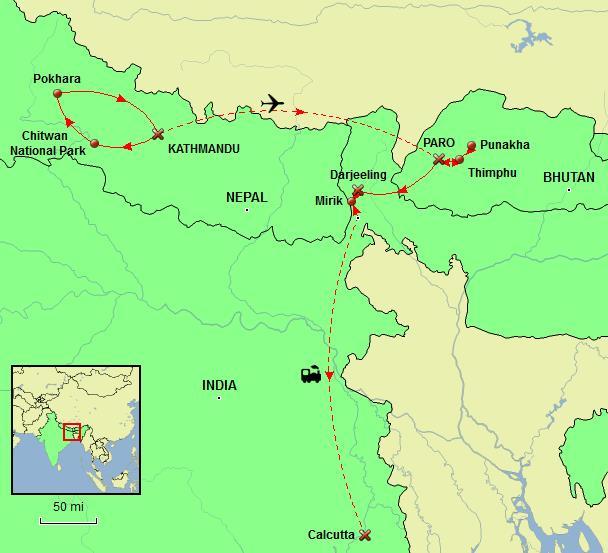 Himalayan Odyssey Tour Map