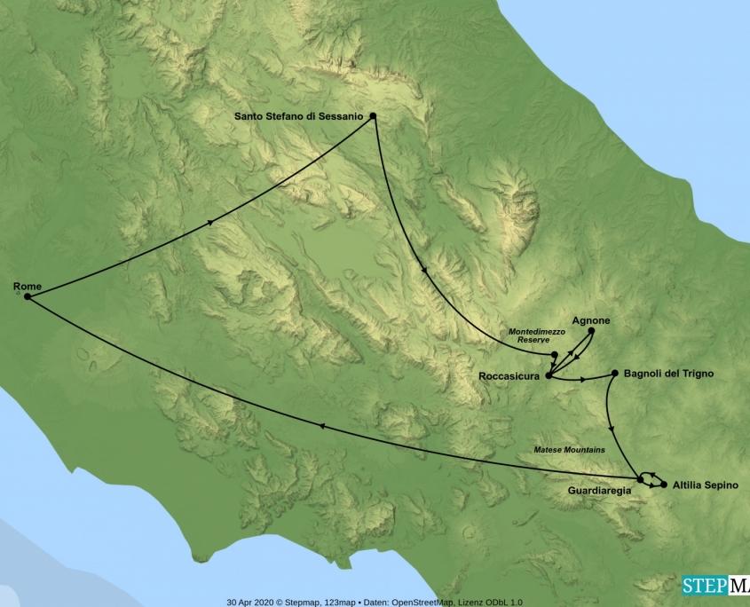 Map of Abruzzo and Molise tour