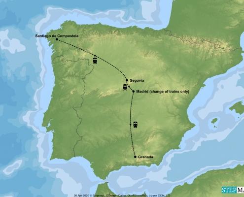 Map of Paradors of Spain Train tour