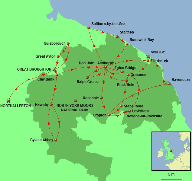 North Yorkshire Moors Tour Map